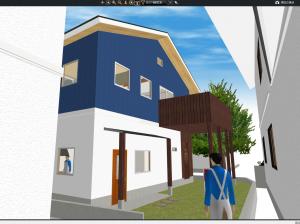 マイホームデザイナー新築作り方アプローチからのビュー2