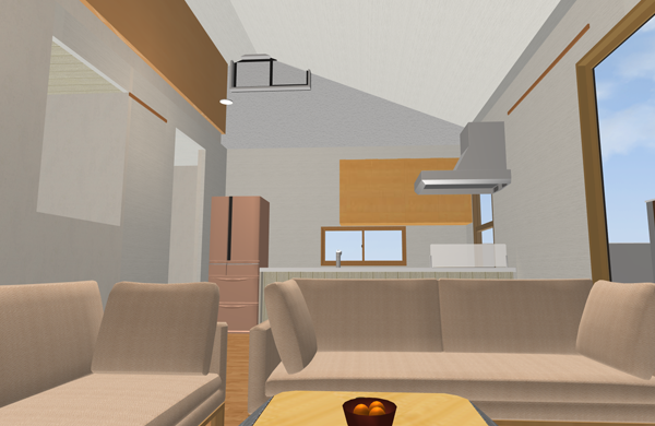 キッチン勾配天井サイドフード