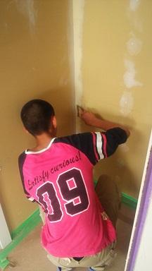 塗り壁DIY下地パテ塗り