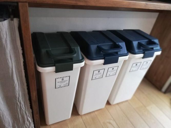 キッチン造作棚ゴミ箱収納