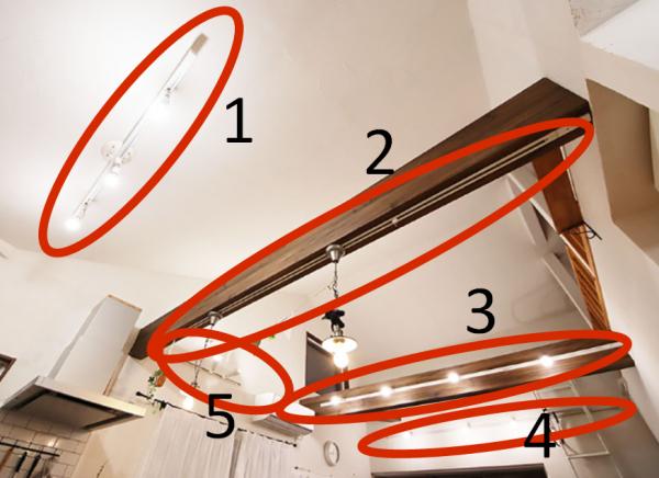 勾配天井(傾斜天井)のリビングダクトレール配置写真
