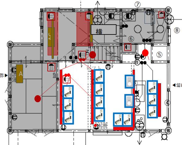 勾配天井(傾斜天井)の2階リビング照明配置図